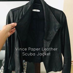Vince | Paper Leather Scuba Jacket